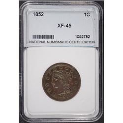 1852 LARGE CENT NNC XF/AU