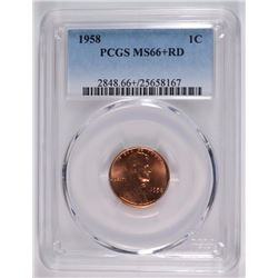 1958 LINCOLN CENT PCGS MS66+ RD, HUGE MONEY IN 67