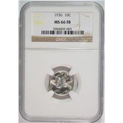 1936 MERCURY DIME, NGC MS-66 FULL BANDS NGC PRICE GUIDE=$125.00