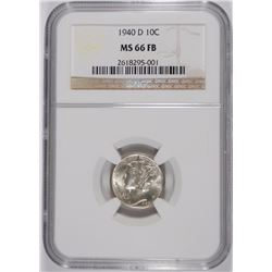 1940-D MERCURY DIME, NGC MS-66 FULL BANDS