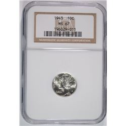 1943 MERCURY DIME, NGC MS-67
