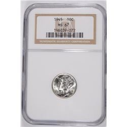 1945 MERCURY DIME, NGC MS-67