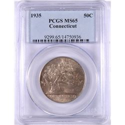 1935 CONNECTICUT HALF DOLLAR PCGS MS65 GEM