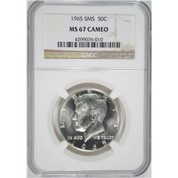1965 SMS KENNEDY HALF DOLLAR NGC MS-67 CAMEO NGC PRICE GUIDE $750