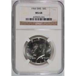 1966 SMS KENNEDY HALF DOLLAR NGC MS-68 NGC PRICE GUIDE $375