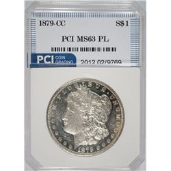 1879-CC MORGAN SILVER DOLLAR, PCI CHOICE BU PL KEY DATE!