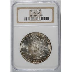 1880-S MORGAN DOLLAR NGC MS-67 BLAST WHITE!!!
