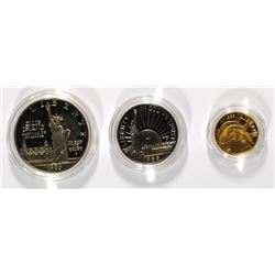 1986 STATUE OF LIBERTY 3-PIECE Pf COMMEM SET: $5 GOLD, SILVER DOLLAR & CLAD HALF