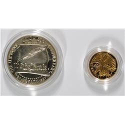 1987 CONSTITUTION 2-PIECE PROOF COMMEMORATIVE SET: $5.00 GOLD & SILVER DOLLAR