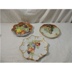 LOT 3 HANDPAINTED HAND PAINTED FRUIT PLATES SIGNED
