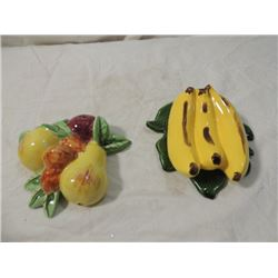 PAIR WALL FRUIT CERAMIC CHINA POCKETS