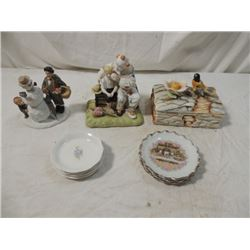 MIXED LOT CLOWN FIGURINE TRINKET BOX PLATES