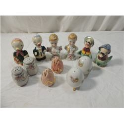 BOX LOT 6 PAIRS ANTIQUE VINTAGE SALT PEPPER SETS