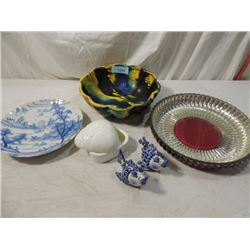LOT 5 SPATTER POTTERY BOWL DELFT PLATE MORE