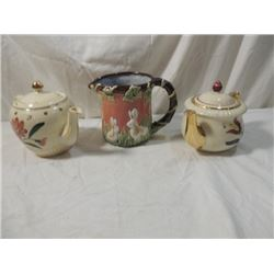 LOT 3 TEA POTS TEAPOTS WATER PITCHER ANTIQUE
