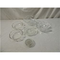 5 PIECES CRYSTAL GLASS BOWLS & GLASS FROG FLOWER