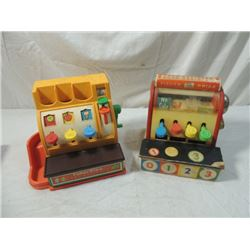VINTAGE WOOD FISHER PRICE CASH REGISTER TOY
