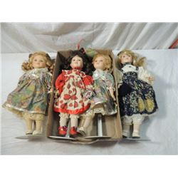 LOT 4 VINTAGE BLONDE HAIRED DOLLS STANDS PORCELAIN