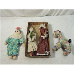 LOT 4 ANTIQUE VINTAGE SOFT CLOTH STUFFED DOLLS