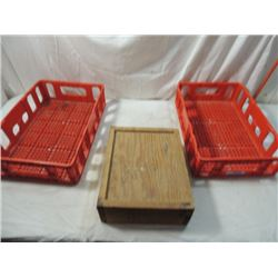 PAIR HEAVY DUTY PLASTIC STORAGE CRATES WOOD BOX