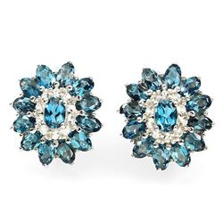 Natural London Blue Topaz & White Topaz Earrings
