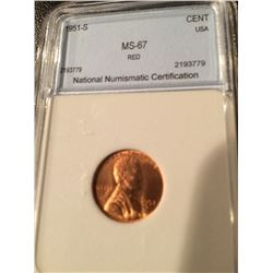 1951-S Lincoln Cent NNC MS67 Red
