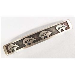 1960-70 Hopi Sterling Bear Barrette by L. Qumawunu
