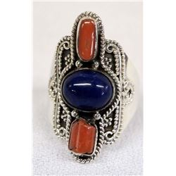 Sterling Silver Lapis and Coral Ring, Size 8.5