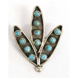 1950 Zuni Petit Point Turquoise Corn Pin