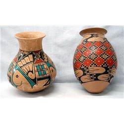 2 Mexican Mata Ortiz Polychrome Jars, Signed