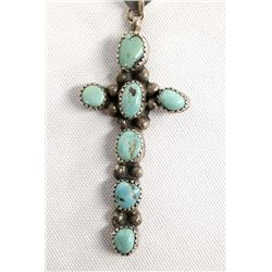 Navajo Silver Turquoise Cross Pendant on Neck Wire