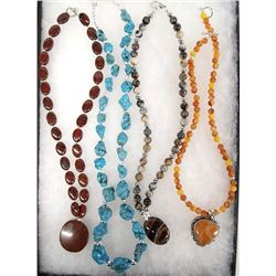 Collection of 4 Stone and Bead Necklaces