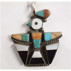 1960 Zuni Traditional Overlay Thunderbird Necklace