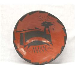 Mexican Mata Ortiz Shallow Deer Bowl by Gonzalez