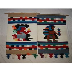 Pair of Mexican Textile Hangings