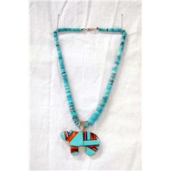Navajo Sterling Inlay Bear Pendant Necklace, Smith