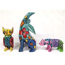 Hand Painted Mexican Coyote, Bear, and Owl Figures