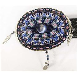 Estate Hand Beaded Textan Leather Belt