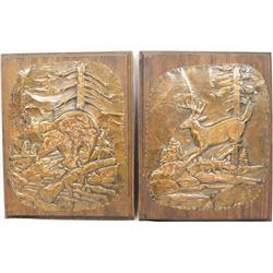 Pair of Vintage Hammered Copper Wildlife Plaques