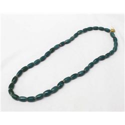 Tribal Green Striped Melon Bead Necklace on Raffia