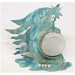 Southwestern Glass Eagle & Metal Candle Sconce