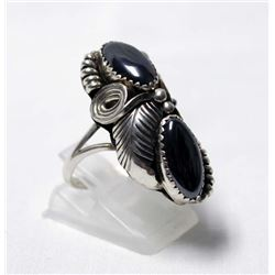 Navajo Sterling Silver and Hematite Ring, Sz 7.25