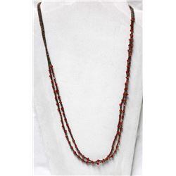 Navajo Sterling Coral and Shell Heishi Necklace