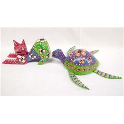 Mexican Hand Carved & Painted Turtle and Cat