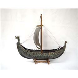 Large Vintage Iron Art Bronze Viking Ship