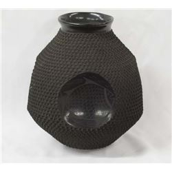Mexican Mata Ortiz Black on Black Jar by Gonzalez