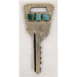 Native American Navajo Turquoise Overlay Key