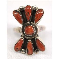 Native American Navajo Silver Coral Ring, Size 6