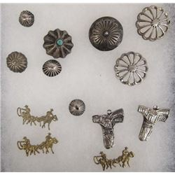 Antique Navajo Conchos Plus Charms, Some Sterling