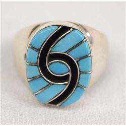 Zuni Sterling Turquoise Ring by Amy Quandelacy